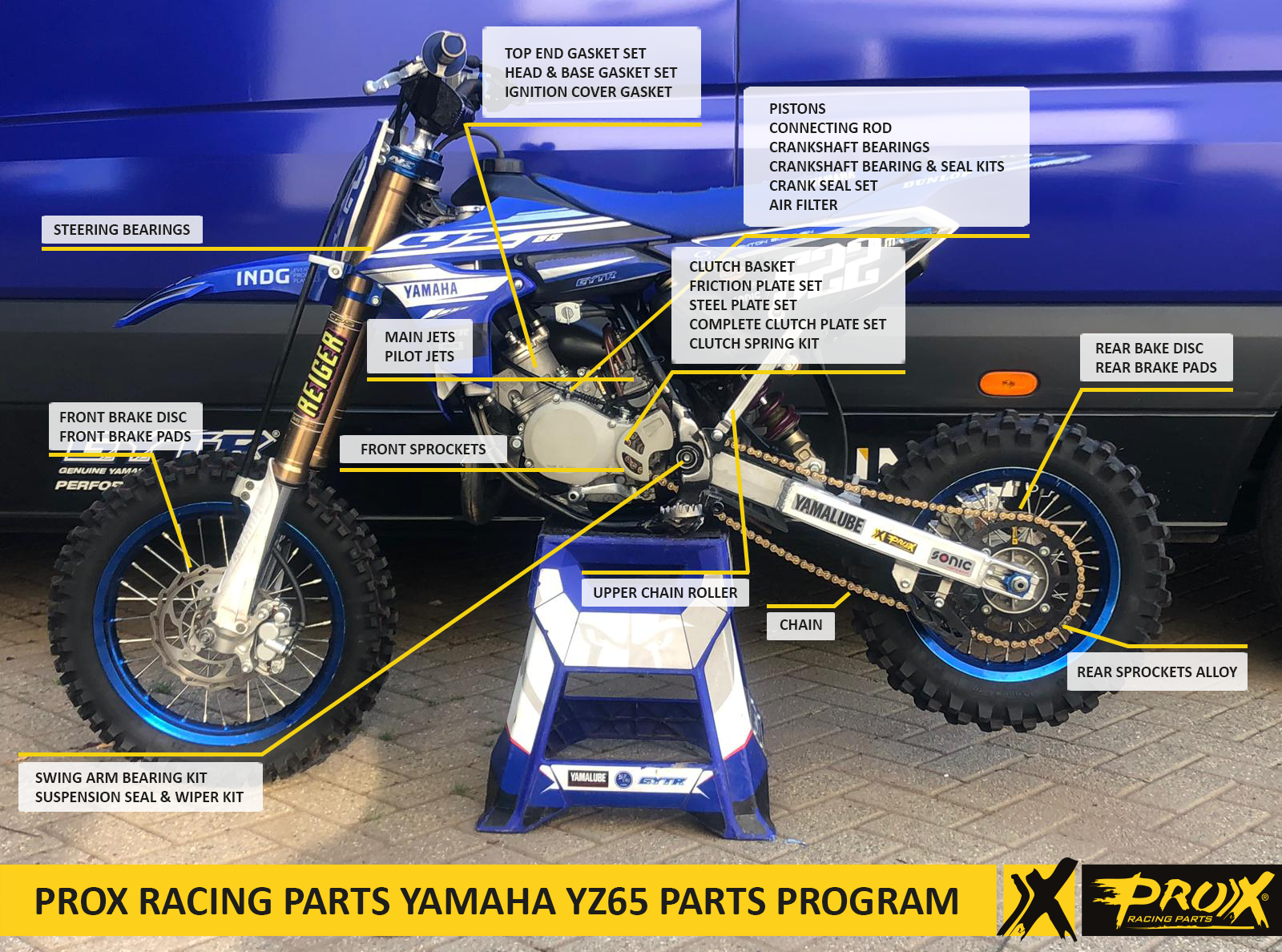 ProX Racing Parts' Complete Yamaha YZ65 Parts Lineup